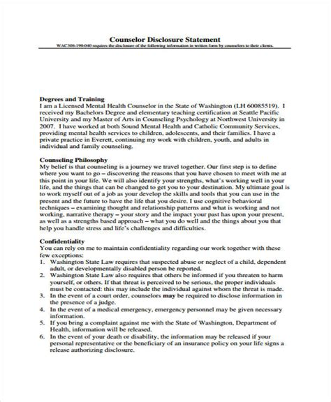 48 Counseling Form Exles Counseling Statement Template