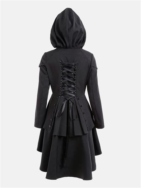 layered lace up high low hooded coat in black xl
