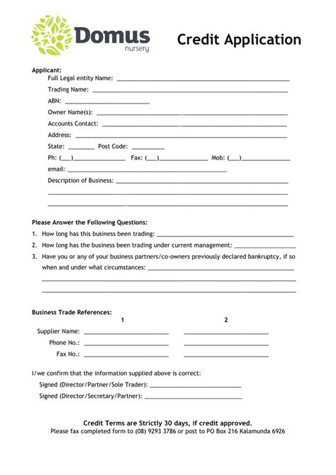 Credit Form Application Domus Nursery Credit Application Form In Word And Pdf Formats