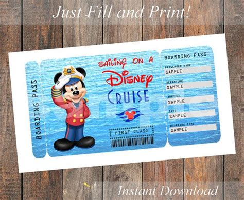 printable disneyland tickets printable ticket for a disney cruise captain by