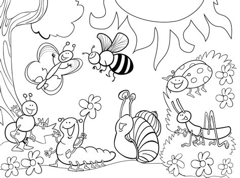 Garden Insects Coloring Page | garden bug coloring pages