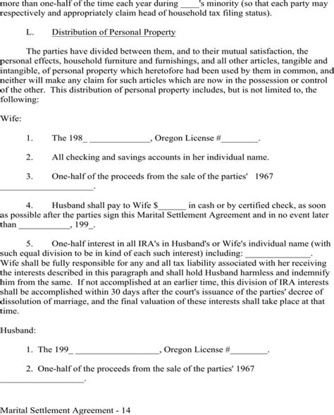 marital settlement agreement template sle marital settlement agreement provisions