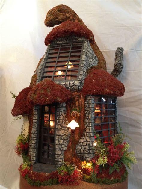 miniature mushroom house     paper clay