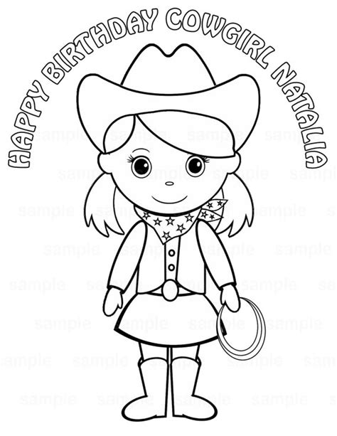 cowgirl coloring page personalized printable cowgirl pigtails birthday by