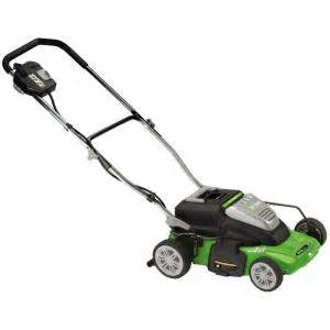 electric lawn mowers at home depot earthwise 14 in rechargeable cordless electric lawn mower