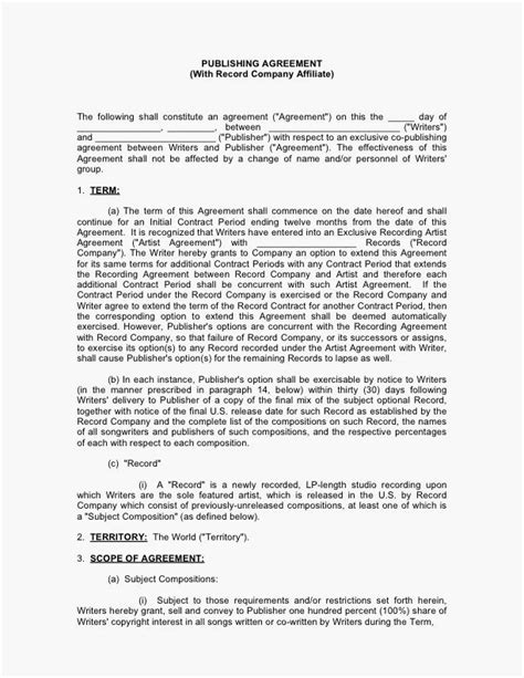 Music Publishing Contract With Record Company Affiliate Musiccontracts Com Publishing Agreement Template