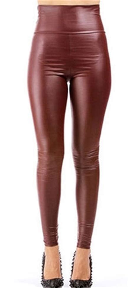 Macy S Duvet Covers High Waisted Burgundy Wine Ox Blood Faux Leather Legging