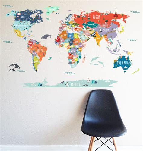 map of the world wall sticker world map interactive map wall decal scandinavian wall decals by the lovely wall company llc