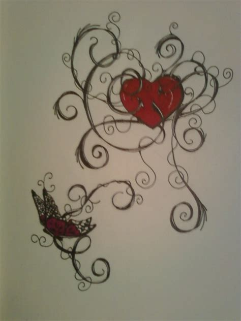 butterfly and heart tattoos butterfly design by allanavosk on deviantart