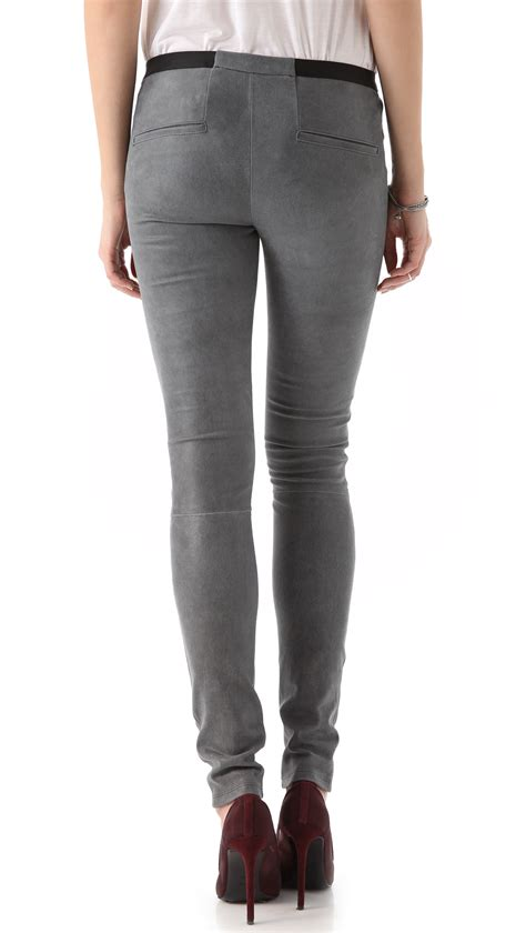 26121 Gray Stretch Leather helmut lang leather patina stretch in gray lyst