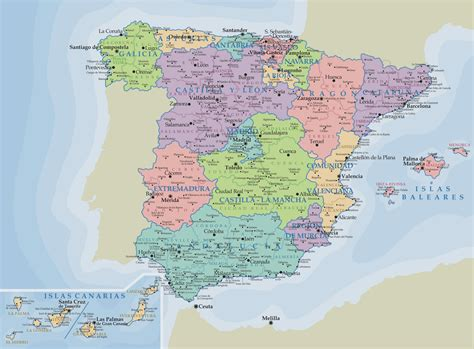 espana map spain political map size