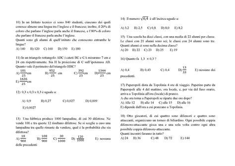 test ingresso matematica prova di ingresso al liceo matematico dello scorso anno