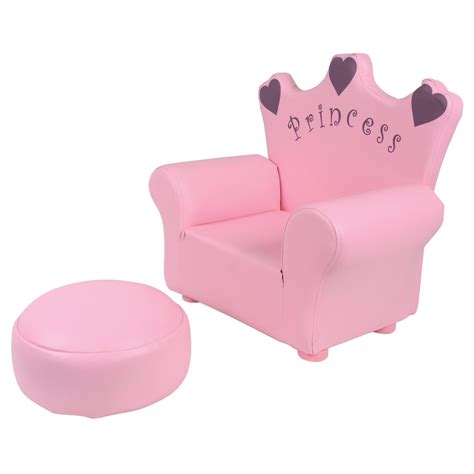 Childs Pink Leather Chair With Footstool by Pu Leather Look Armchair Sofa Chair Footstool