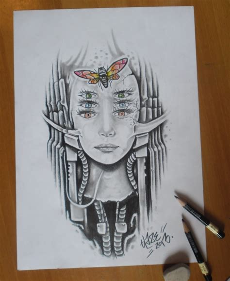 biomechanical portrait tattoo biomechanical girl by blazeovsky on deviantart