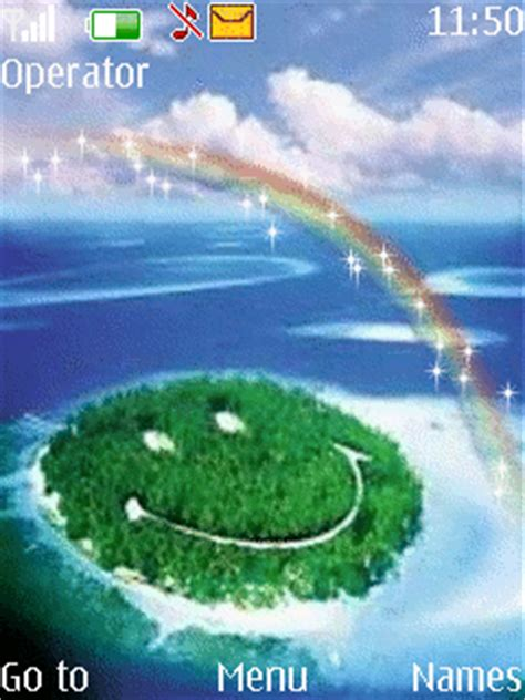 nature themes with ringtone animated rainbow nature s40 theme
