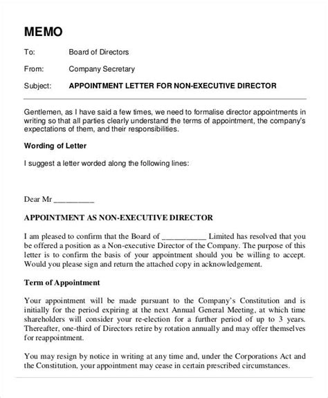 appointment letter non executive director appointment letters 18 free word pdf documents