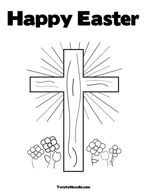 cross with flower coloring pages