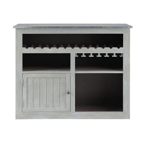meuble de bar en bois d acacia gris l 132 cm zinc