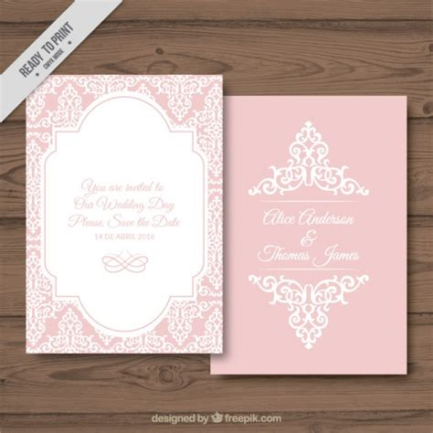 decorative card design decorative wedding card on a pink background vector free