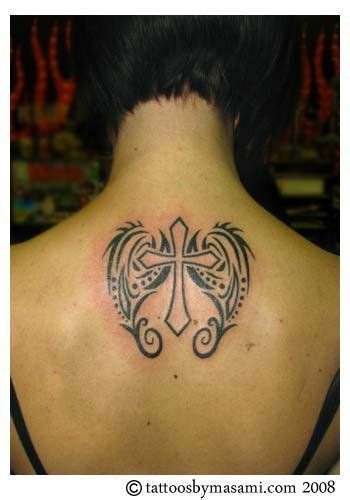 angel wings and cross tattoo designs girly cross with wings tribal tattoos of