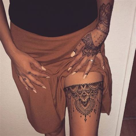 25  Best Ideas about Mandala Thigh Tattoo on Pinterest   Thigh tattoos, Thigh piece and Lace