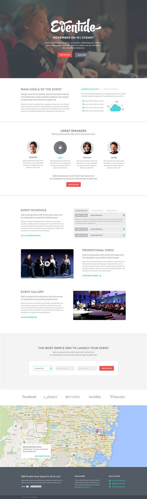 template landing page gratis eventide free landing page psd template free