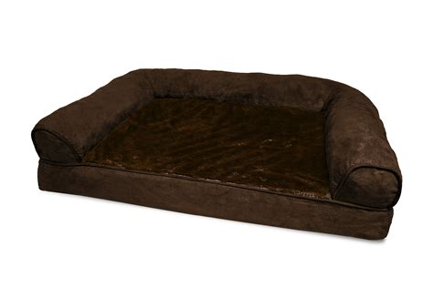 sofa style orthopedic pet bed mattress furhaven plush suede orthopedic dog sofa bed pet bed ebay