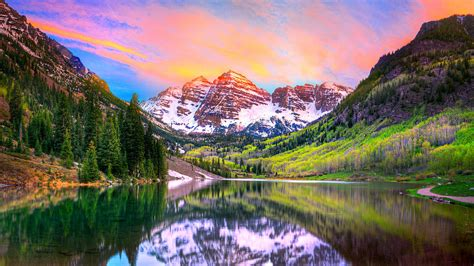 Colorado Home Decor by Sunset At Maroon Bells And Maroon Lake Aspen Co Photograph