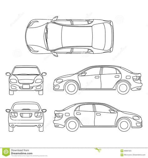 White Vector Car Sedan Template Cartoon Vector Cartoondealer Com 90278735 Car Outline Templates