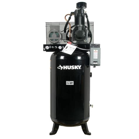 husky 80 gal 2 stage cast iron electric air compressor