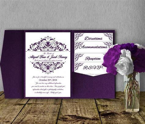 Silver Purple Wedding Invitation Template Kit, Invitation