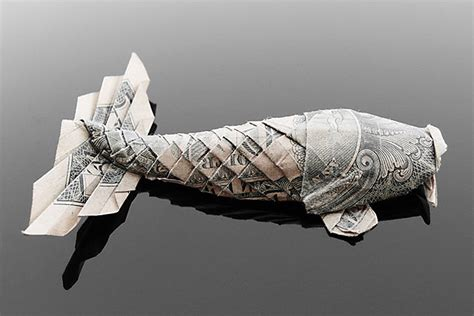money origami koi fish craig folds five manipulates money into amazing origami