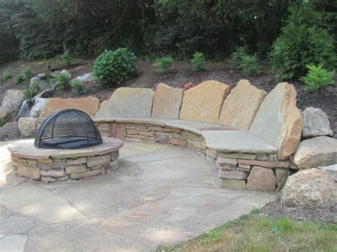 stone backyard patio natural stone patio design installation berks reading pa