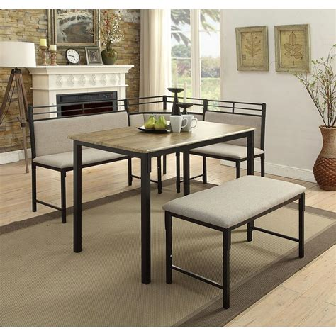 dining nooks 4d concepts boltzero 3 piece black and tan corner dining