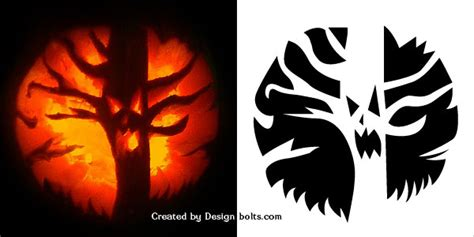 spooky tree pumpkin template 10 free scary pumpkin carving patterns stencils