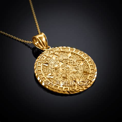 10k gold aztec mayan sun calendar pendant necklace yellow