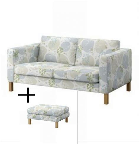 Sofa And Ottoman Covers Ikea Karlstad 2 Seat Sofa And Footstool Slipcovers