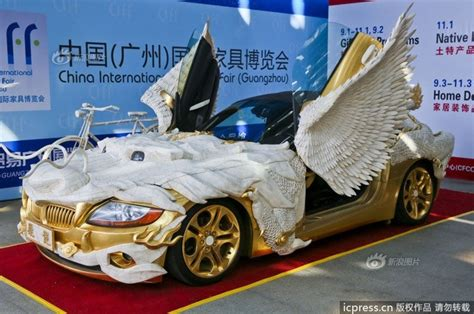 trump gold plated car a gold bmw z4 inspired by a fire breathing dragon put on