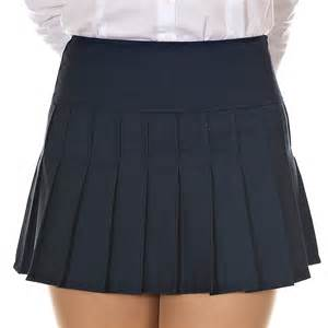 womens basic pleated mini skirt preppy