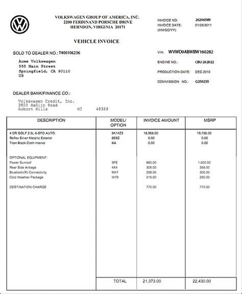 vehicle invoice template sle invoice car sale free invoice template