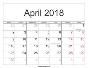 Kalender 2018 April April 2018 Calendar Printable With Holidays Pdf And Jpg