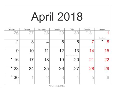 april 2018 calendar pdf printable calendar monthly
