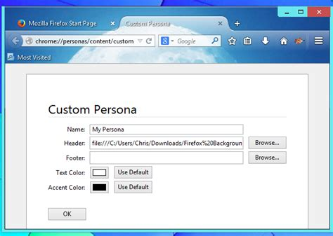 firefox themes how to make how to create your own firefox browser theme