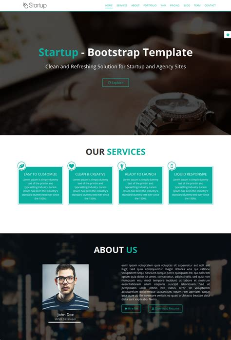 Startup Free Onepage Startupbusiness Template Mooxidesign Com Startup Website Template