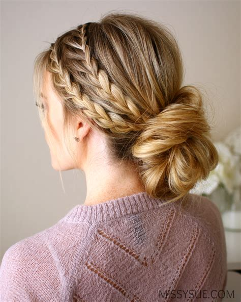 images of braiding hair styles in a bun triple braided updo missy sue