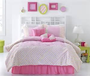 Lindsay pink stripes girls teen room full bedding comforter set