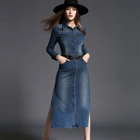 Fashion Wanita Pakaian Dress Denim 2015 autumn fashion denim dress casual maxi dress slit slim package hip denim