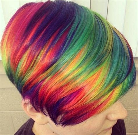dyed hairstyles for short hair short rainbow hair rainbow hair and rainbows on pinterest