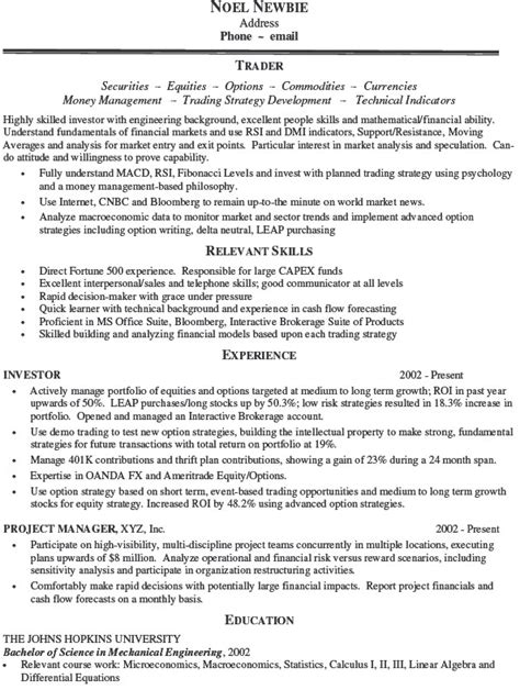 Securities Trader Sle Resume by Sales And Trading Resume