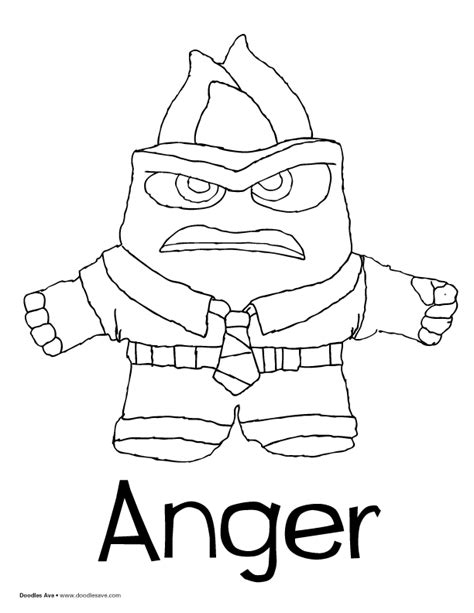 coloring page of anger from inside out doodles ave